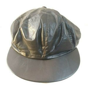 Vtg Black Leather Made in the USA Cabbie Hat L18